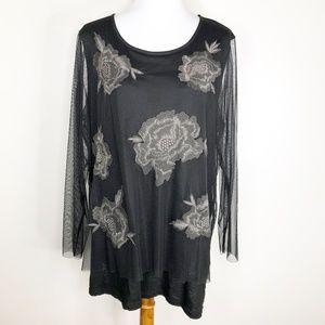 LOGO Lori Goldstein LAVISH Black Floral Blouse